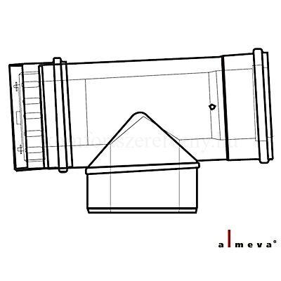Almeva LIK koncentrikus ellenőrző T idom 60/100 mm PPH/PPH