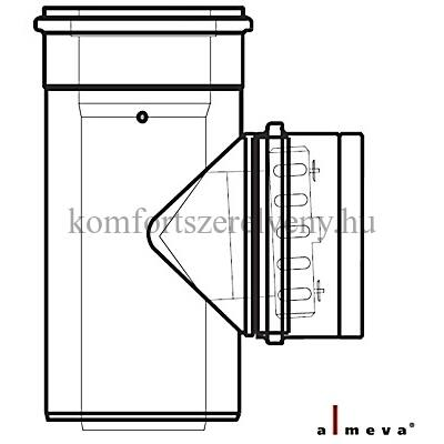 Almeva LIK koncentrikus ellenőrző egyenes idom 80/125 mm PPH/PPH