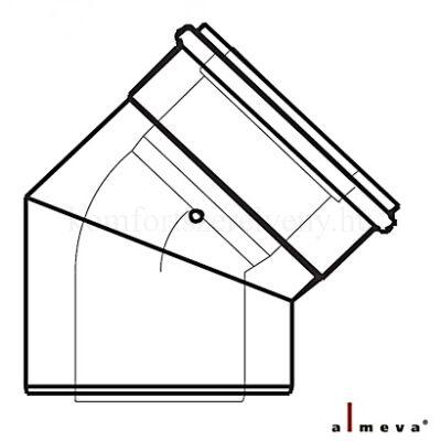 Almeva LIK koncentrikus füstcső könyök idom 45° 60/100 mm PPH/PPH